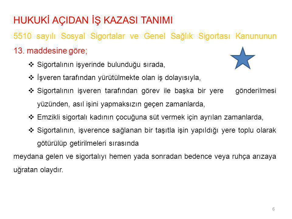 HUKUKİ AÇIDAN İŞ KAZASI TANIMI 5510 sayılı Sosyal Sigortalar ve Genel Sağlık Sigortası Kanununun 13. maddesine göre;  Sigortalının işyerinde bulunduğ