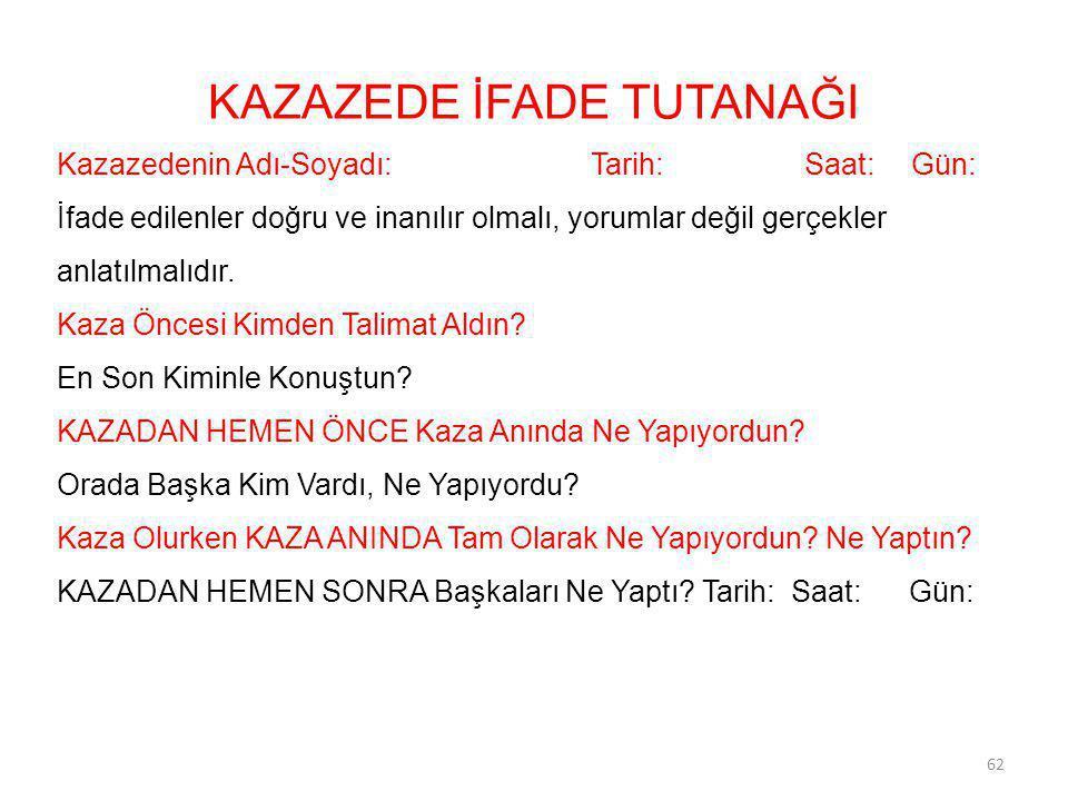 KAZAZEDE İFADE TUTANAĞI Kazazedenin Adı-Soyadı:Tarih:Saat:Gün: İfade edilenler doğru ve inanılır olmalı, yorumlar değil gerçekler anlatılmalıdır. Kaza
