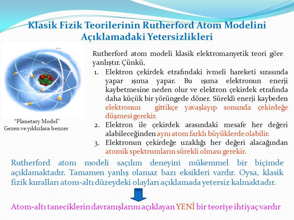 Klasik Fizik Teorilerinin Rutherford Atom Modelini Açıklamadaki Yetersizlikleri Rutherford atom modeli klasik elektromanyetik teori göre yanlıştır. Çü