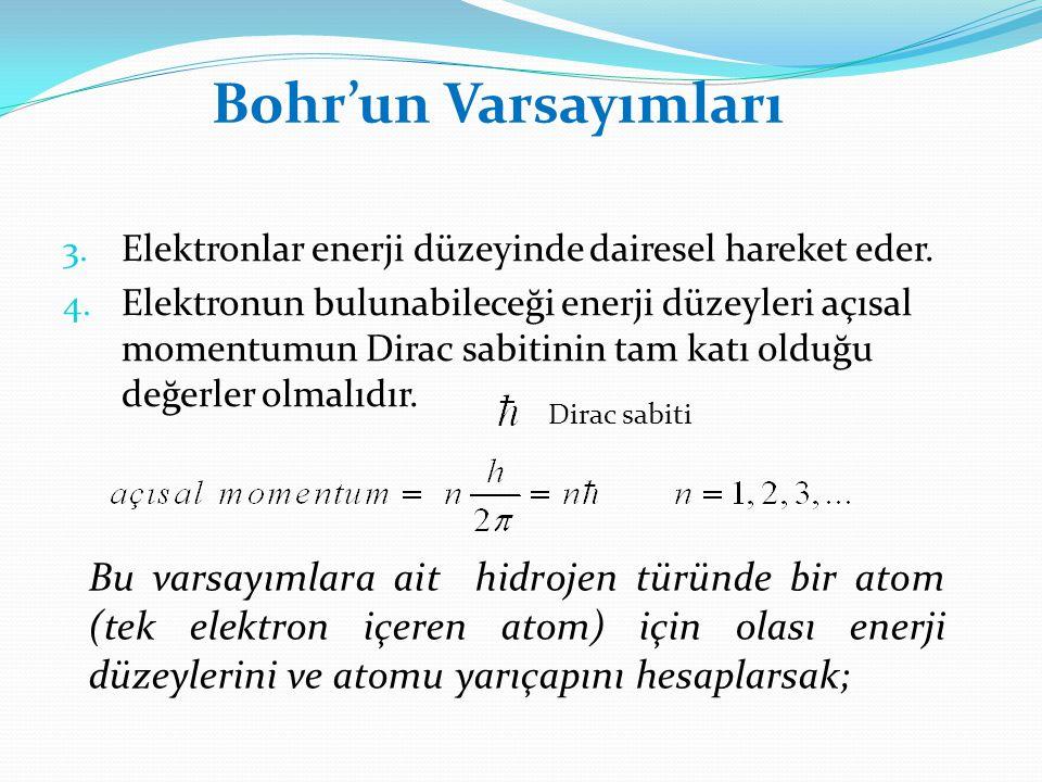 3. Elektronlar enerji düzeyinde dairesel hareket eder. 4. Elektronun bulunabileceği enerji düzeyleri açısal momentumun Dirac sabitinin tam katı olduğu