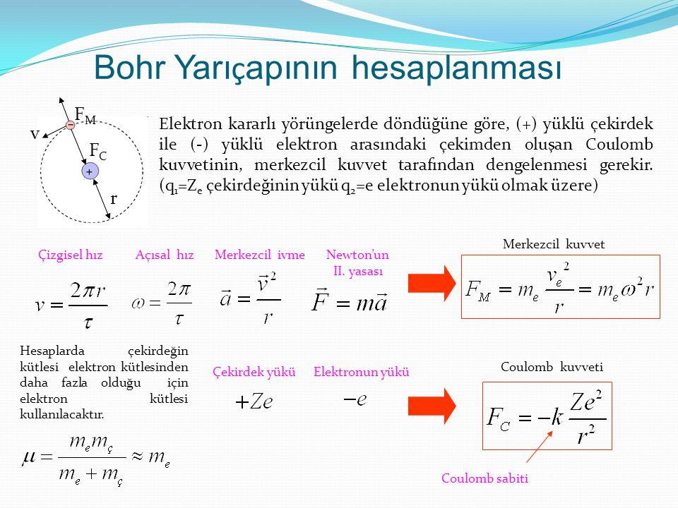 Bohr Yarı ç apının hesaplanması r FCFC FMFM v Elektron kararlı yörüngelerde döndüğüne göre, (+) yüklü çekirdek ile (-) yüklü elektron arasındaki çekim