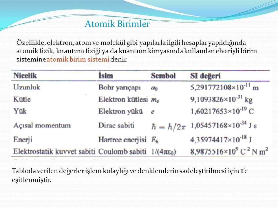Atomik Birimler Özellikle, elektron, atom ve molekül gibi yapılarla ilgili hesaplar yapıldığında atomik fizik, kuantum fiziği ya da kuantum kimyasında