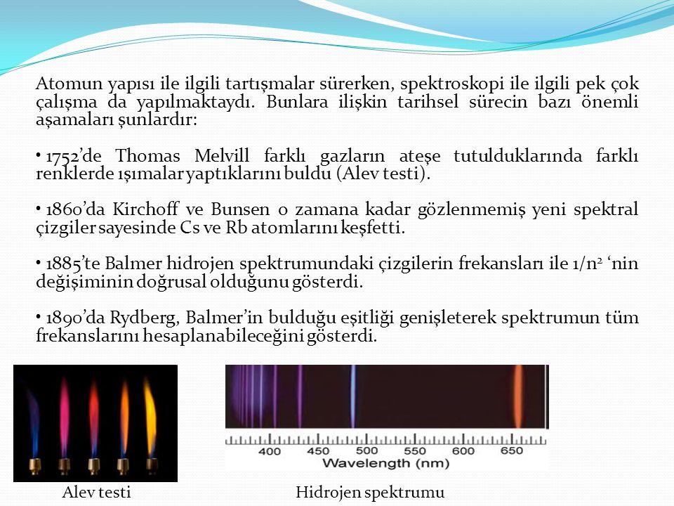 Atomun yapısı ile ilgili tartışmalar sürerken, spektroskopi ile ilgili pek çok çalışma da yapılmaktaydı. Bunlara ilişkin tarihsel sürecin bazı önemli
