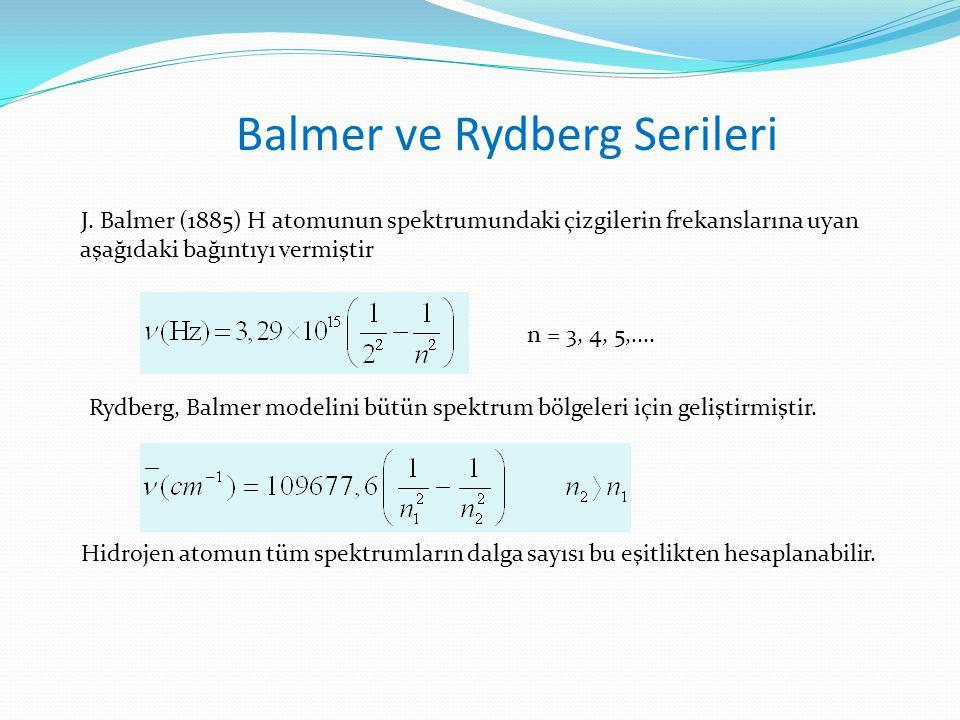 Balmer ve Rydberg Serileri J. Balmer (1885) H atomunun spektrumundaki çizgilerin frekanslarına uyan aşağıdaki bağıntıyı vermiştir Rydberg, Balmer mode