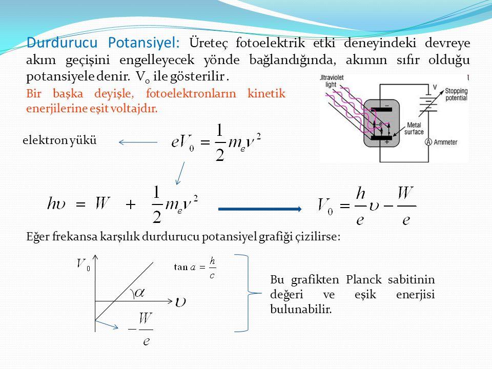 Durdurucu Potansiyel: Üreteç fotoelektrik etki deneyindeki devreye akım geçişini engelleyecek yönde bağlandığında, akımın sıfır olduğu potansiyele den