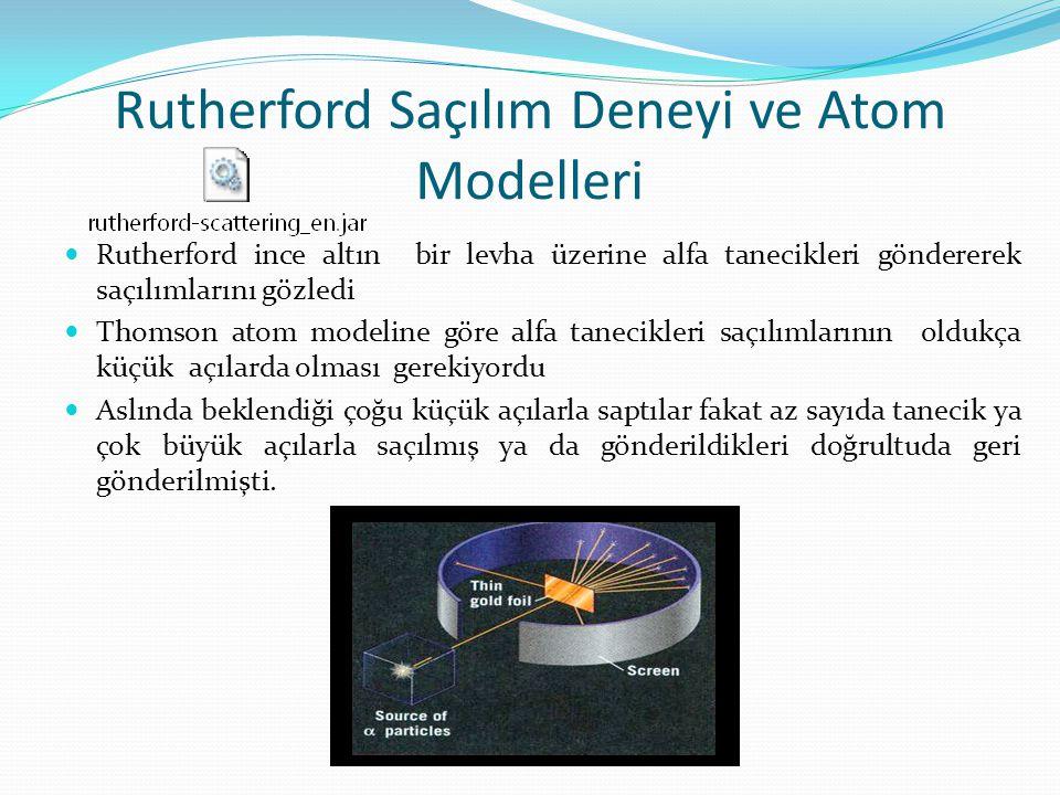Rutherford Saçılım Deneyi ve Atom Modelleri Rutherford ince altın bir levha üzerine alfa tanecikleri göndererek saçılımlarını gözledi Thomson atom mod
