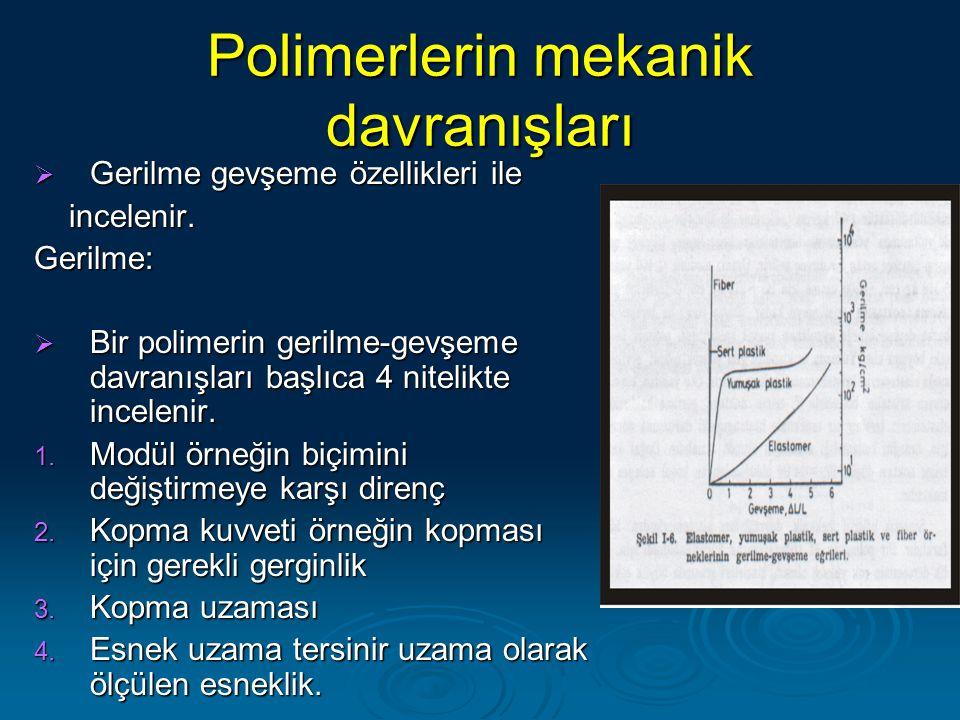 Polimerlerin mekanik davranışları  Gerilme gevşeme özellikleri ile incelenir. incelenir.Gerilme:  Bir polimerin gerilme-gevşeme davranışları başlıca