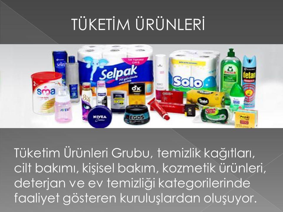 TÜKETİM ÜRÜNLERİ Tüketim Ürünleri Grubu, temizlik kağıtları, cilt bakımı, kişisel bakım, kozmetik ürünleri, deterjan ve ev temizliği kategorilerinde f