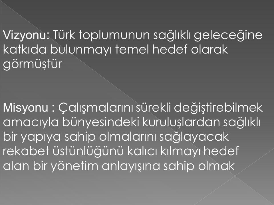 Vizyonu : Türk toplumunun sağlıklı geleceğine katkıda bulunmayı temel hedef olarak görmüştür Misyonu : Çalışmalarını sürekli değiştirebilmek amacıyla