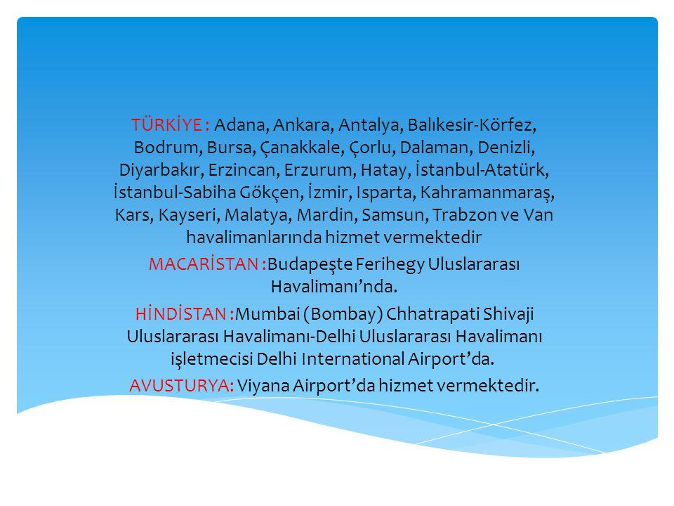 TÜRKİYE : Adana, Ankara, Antalya, Balıkesir-Körfez, Bodrum, Bursa, Çanakkale, Çorlu, Dalaman, Denizli, Diyarbakır, Erzincan, Erzurum, Hatay, İstanbul-