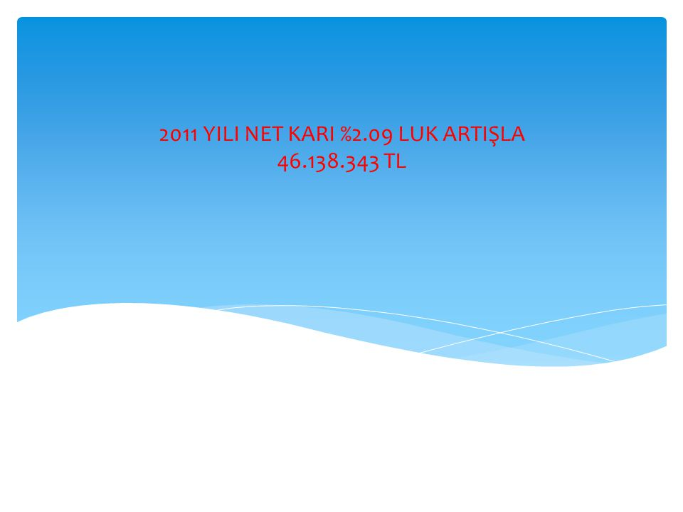 2011 YILI NET KARI %2.09 LUK ARTIŞLA 46.138.343 TL