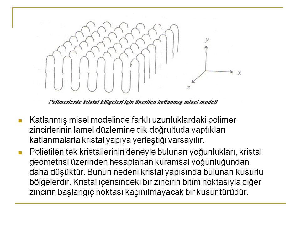 Katlanmış misel modelinde farklı uzunluklardaki polimer zincirlerinin lamel düzlemine dik doğrultuda yaptıkları katlanmalarla kristal yapıya yerleştiğ