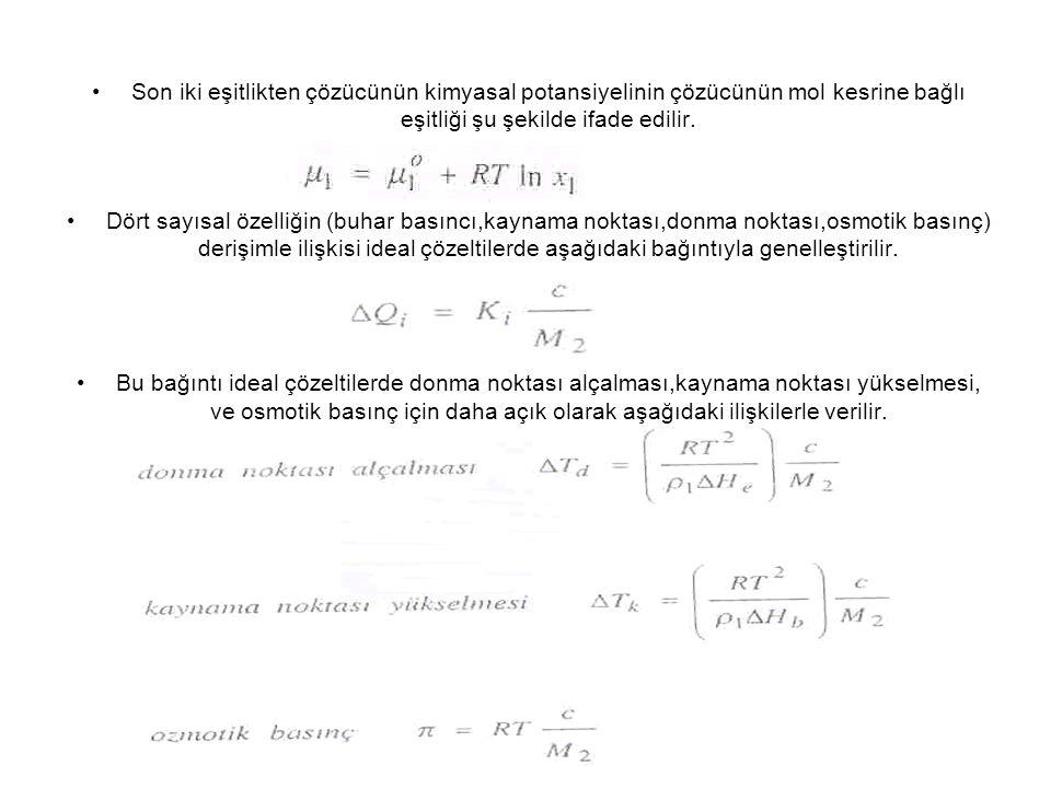 Son iki eşitlikten çözücünün kimyasal potansiyelinin çözücünün mol kesrine bağlı eşitliği şu şekilde ifade edilir. Dört sayısal özelliğin (buhar basın
