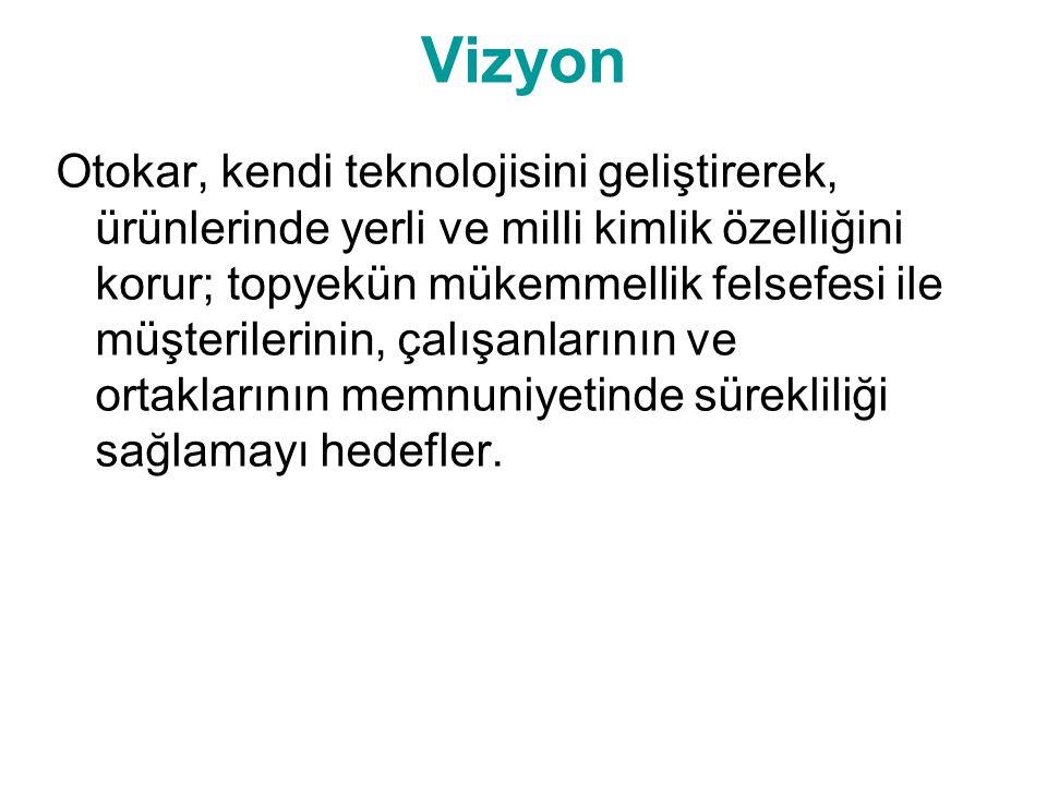 Vizyon Otokar, kendi teknolojisini geliştirerek, ürünlerinde yerli ve milli kimlik özelliğini korur; topyekün mükemmellik felsefesi ile müşterilerinin, çalışanlarının ve ortaklarının memnuniyetinde sürekliliği sağlamayı hedefler.