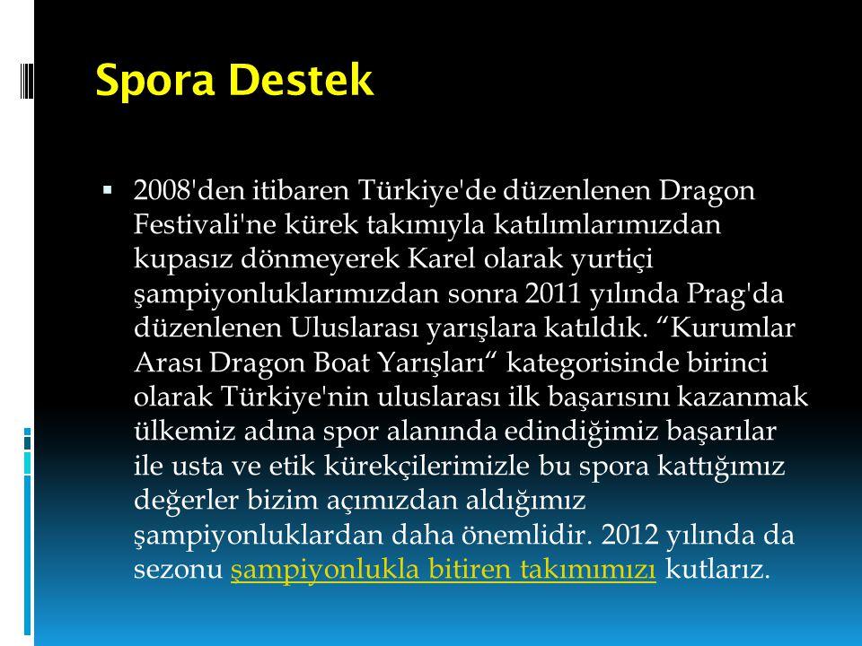 Spora Destek  2008'den itibaren Türkiye'de düzenlenen Dragon Festivali'ne kürek takımıyla katılımlarımızdan kupasız dönmeyerek Karel olarak yurtiçi ş