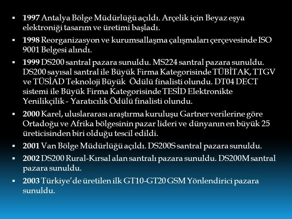  1997 Antalya Bölge Müdürlüğü açıldı. Arçelik için Beyaz eşya elektroniği tasarım ve üretimi başladı.  1998 Reorganizasyon ve kurumsallaşma çalışmal