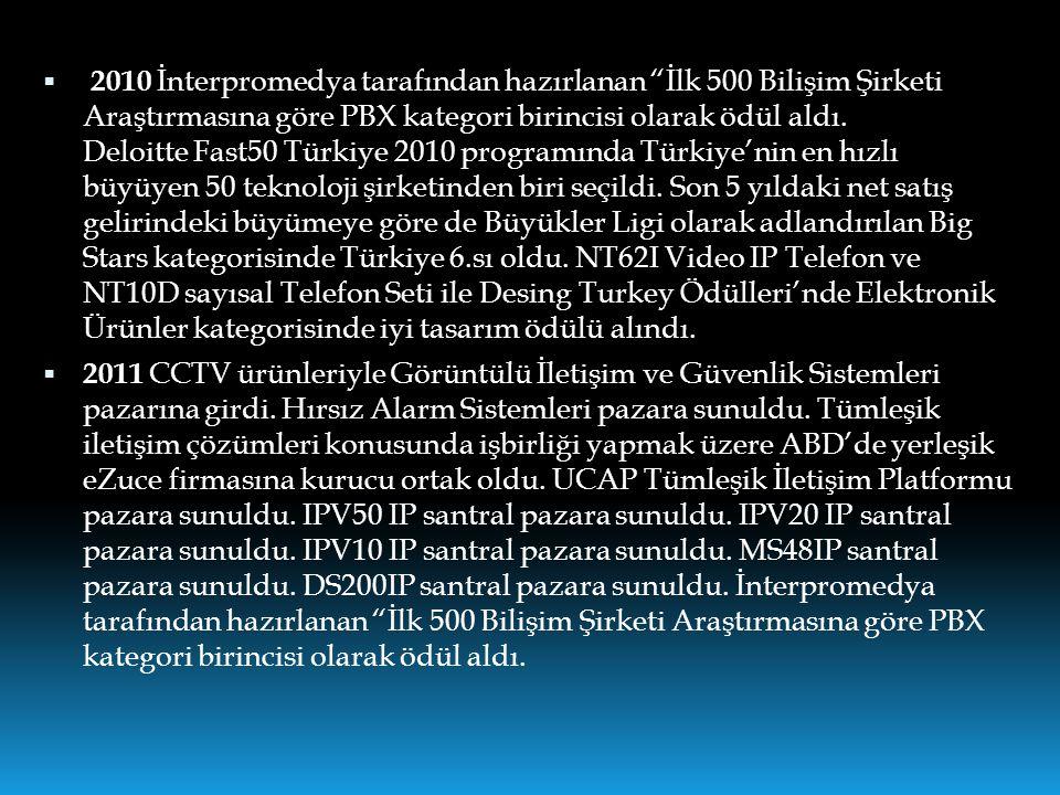 """ 2010 İnterpromedya tarafından hazırlanan """"İlk 500 Bilişim Şirketi Araştırmasına göre PBX kategori birincisi olarak ödül aldı. Deloitte Fast50 Türkiy"""