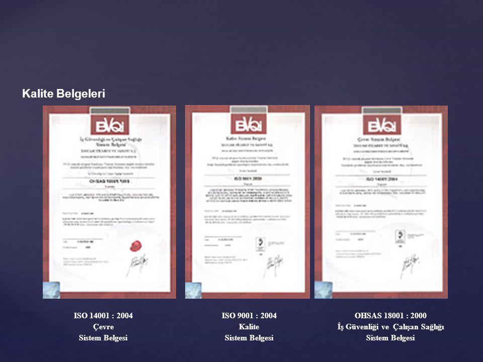 Kalite Belgeleri ISO 14001 : 2004 Çevre Sistem Belgesi ISO 9001 : 2004 Kalite Sistem Belgesi OHSAS 18001 : 2000 İş Güvenliği ve Çalışan Sağlığı Sistem