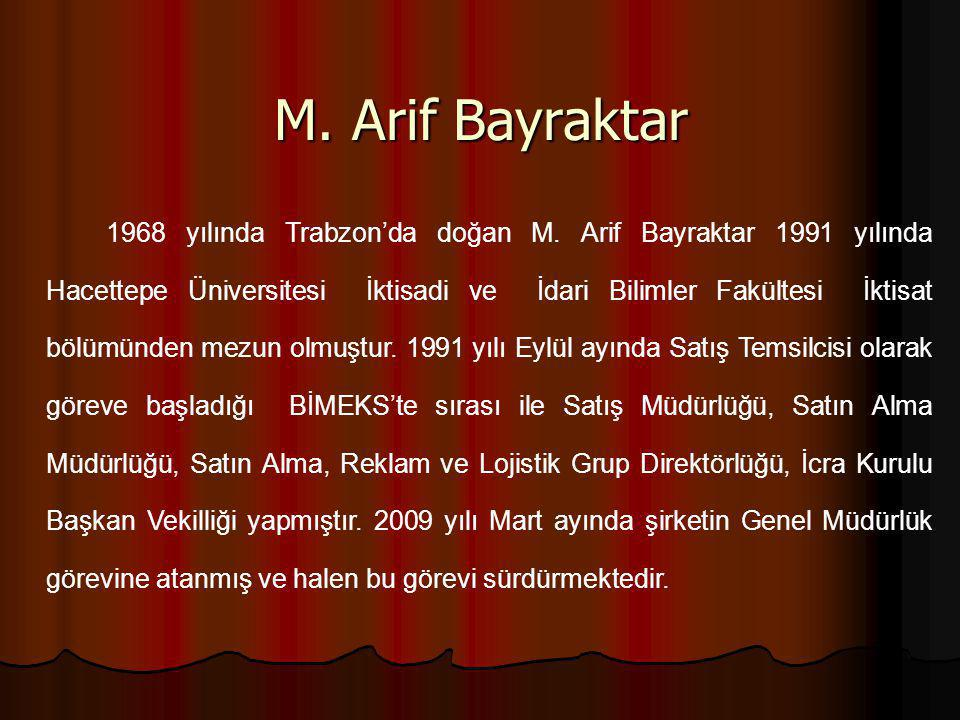 M. Arif Bayraktar 1968 yılında Trabzon'da doğan M. Arif Bayraktar 1991 yılında Hacettepe Üniversitesi İktisadi ve İdari Bilimler Fakültesi İktisat böl