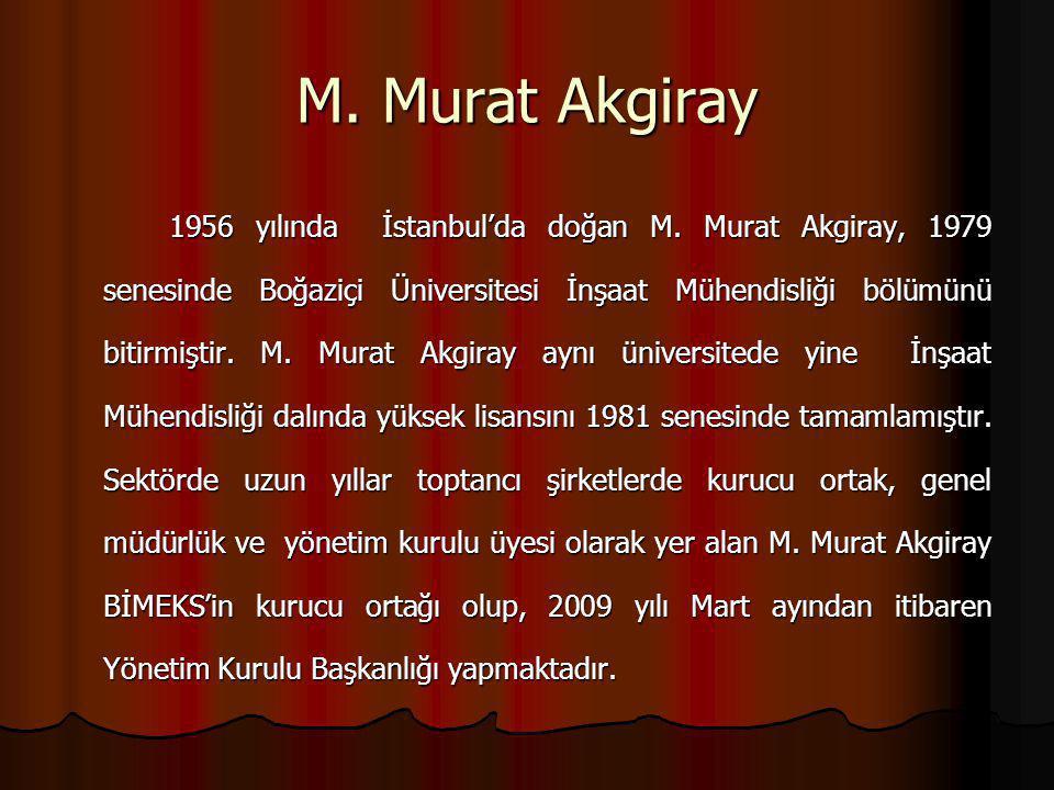 M. Murat Akgiray 1956 yılında İstanbul'da doğan M. Murat Akgiray, 1979 senesinde Boğaziçi Üniversitesi İnşaat Mühendisliği bölümünü bitirmiştir. M. Mu