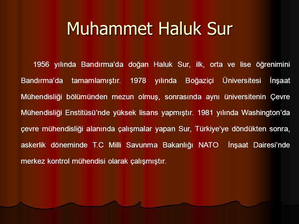 Muhammet Haluk Sur 1956 yılında Bandırma'da doğan Haluk Sur, ilk, orta ve lise öğrenimini Bandırma'da tamamlamıştır. 1978 yılında Boğaziçi Üniversites