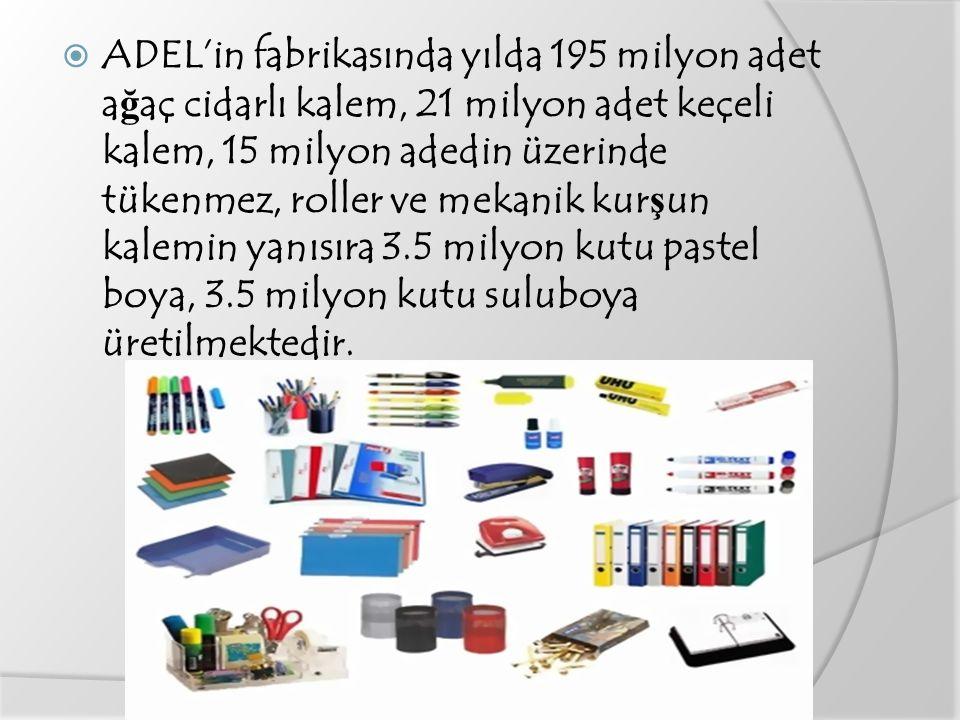  ADEL'in fabrikasında yılda 195 milyon adet a ğ aç cidarlı kalem, 21 milyon adet keçeli kalem, 15 milyon adedin üzerinde tükenmez, roller ve mekanik kur ş un kalemin yanısıra 3.5 milyon kutu pastel boya, 3.5 milyon kutu suluboya üretilmektedir.