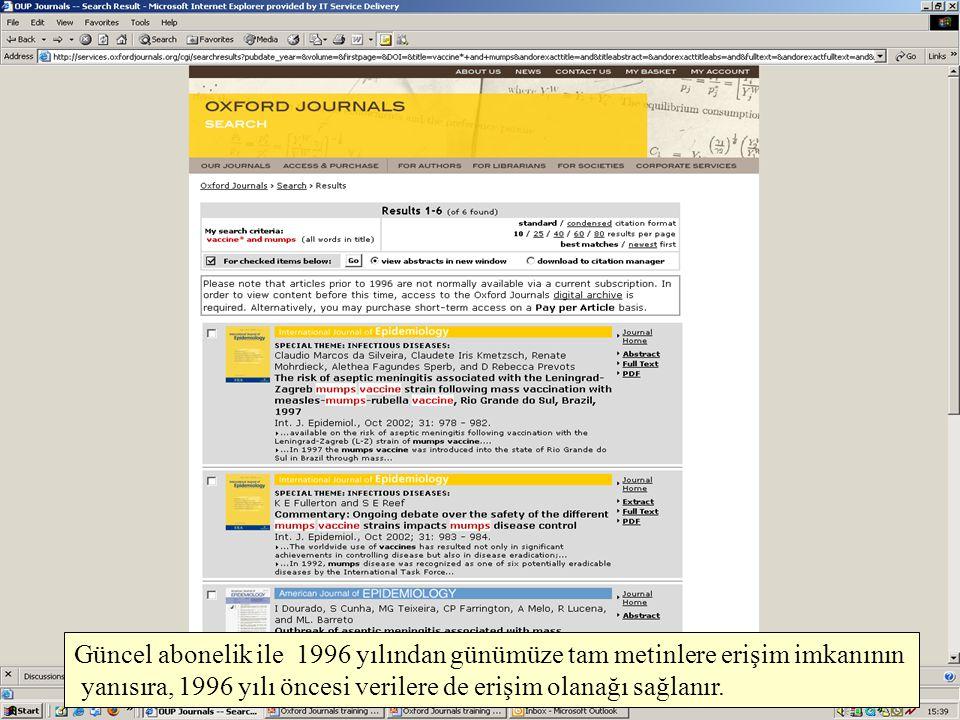 Güncel abonelik ile 1996 yılından günümüze tam metinlere erişim imkanının yanısıra, 1996 yılı öncesi verilere de erişim olanağı sağlanır.