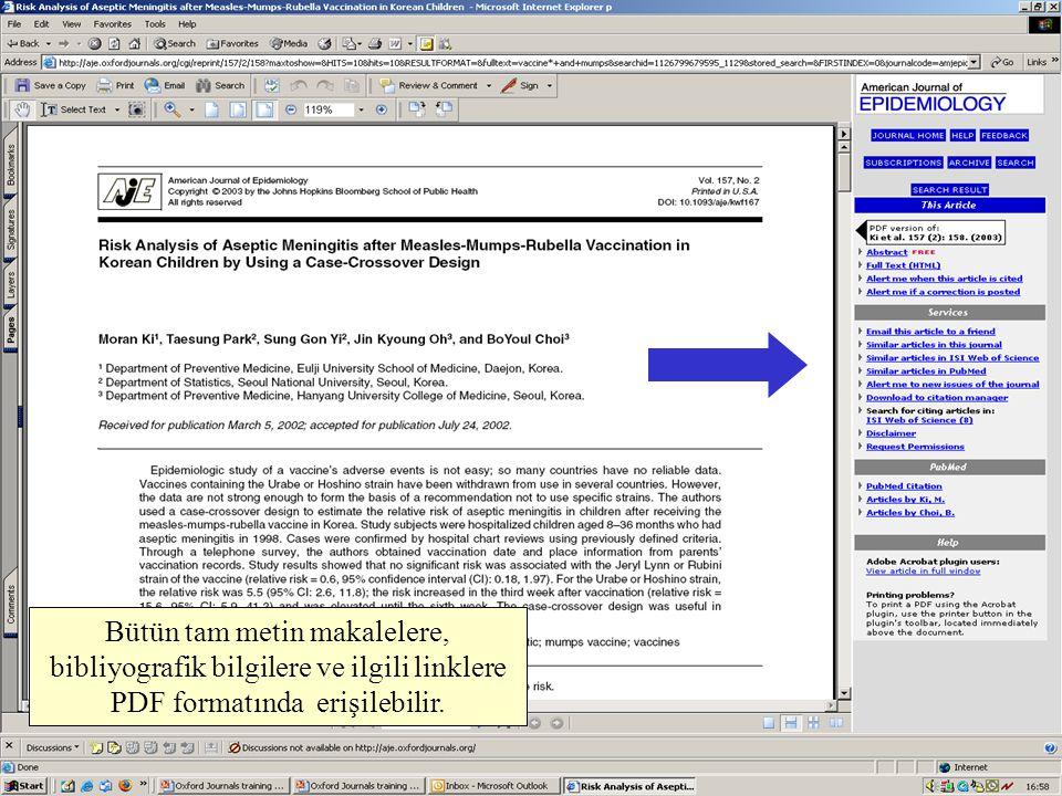 Bütün tam metin makalelere, bibliyografik bilgilere ve ilgili linklere PDF formatında erişilebilir.