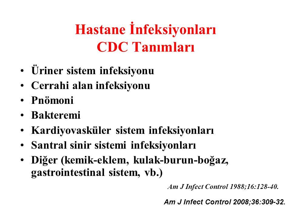 Hastane İnfeksiyonları CDC Tanımları Üriner sistem infeksiyonu Cerrahi alan infeksiyonu Pnömoni Bakteremi Kardiyovasküler sistem infeksiyonları Santra
