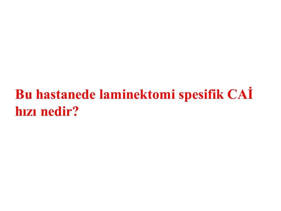 Bu hastanede laminektomi spesifik CAİ hızı nedir?