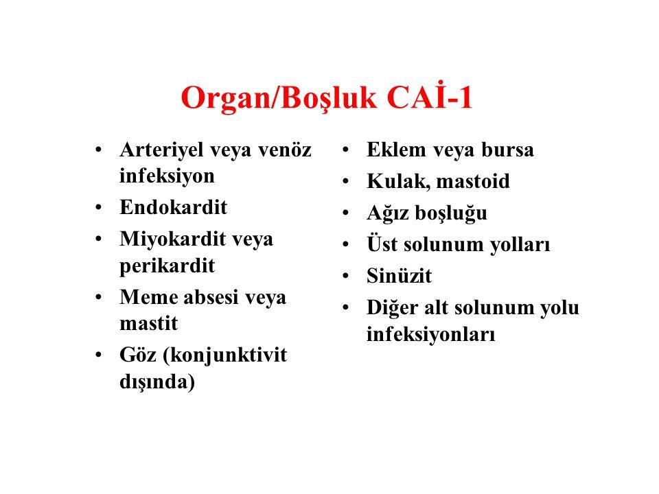 Organ/Boşluk CAİ-1 Arteriyel veya venöz infeksiyon Endokardit Miyokardit veya perikardit Meme absesi veya mastit Göz (konjunktivit dışında) Eklem veya