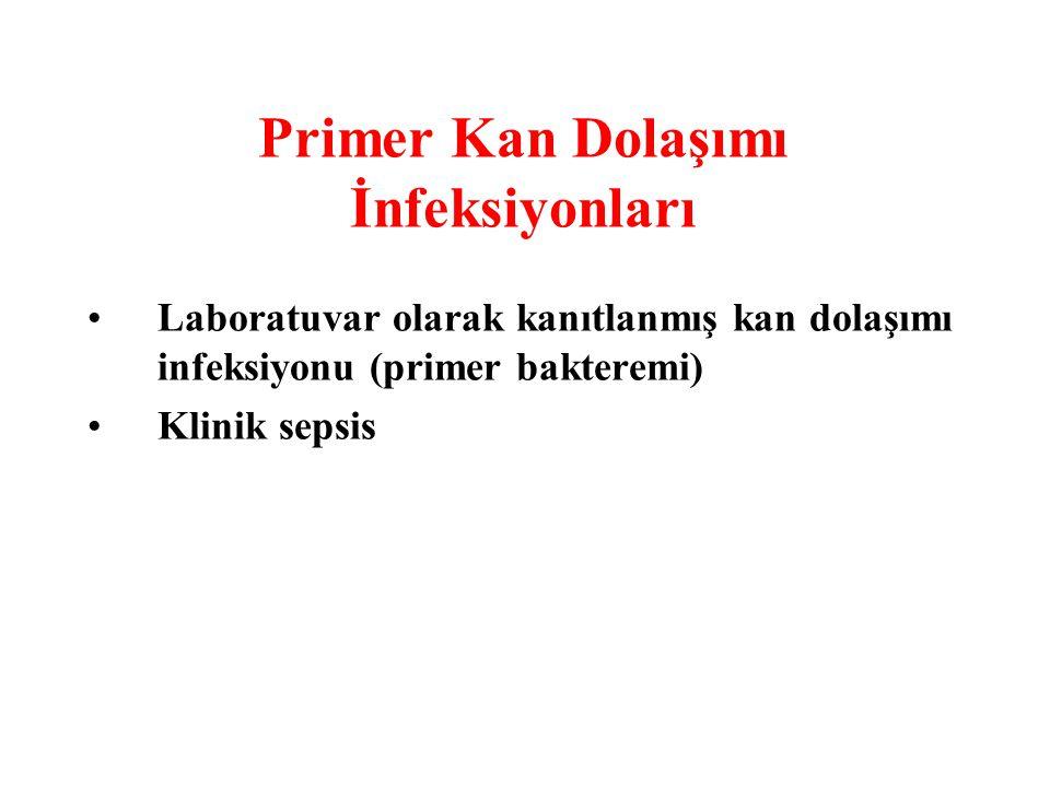 Primer Kan Dolaşımı İnfeksiyonları Laboratuvar olarak kanıtlanmış kan dolaşımı infeksiyonu (primer bakteremi) Klinik sepsis