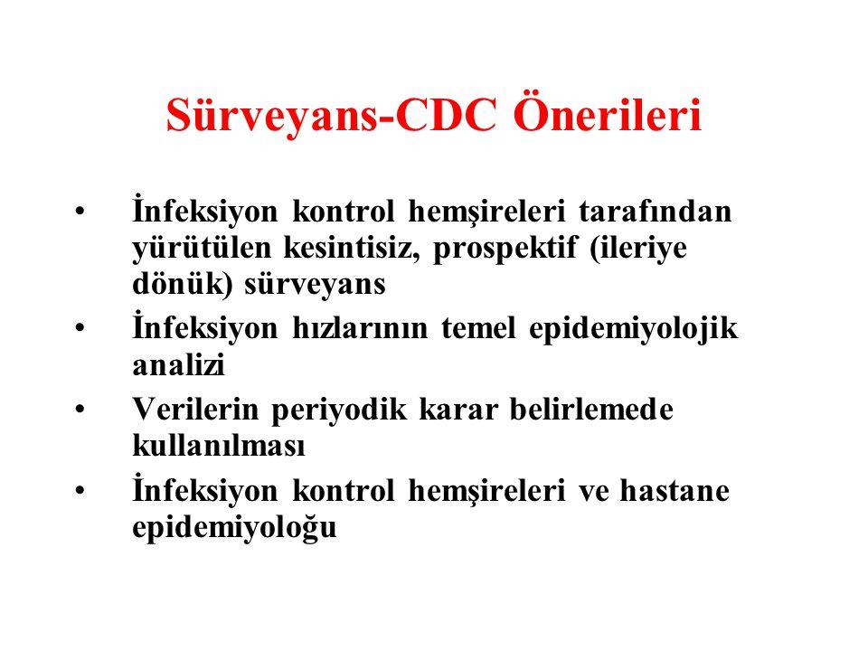 Sürveyans-CDC Önerileri İnfeksiyon kontrol hemşireleri tarafından yürütülen kesintisiz, prospektif (ileriye dönük) sürveyans İnfeksiyon hızlarının tem