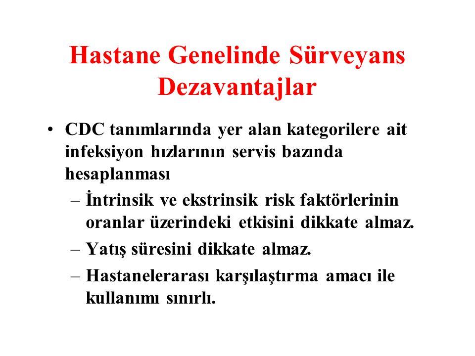 Hastane Genelinde Sürveyans Dezavantajlar CDC tanımlarında yer alan kategorilere ait infeksiyon hızlarının servis bazında hesaplanması –İntrinsik ve e