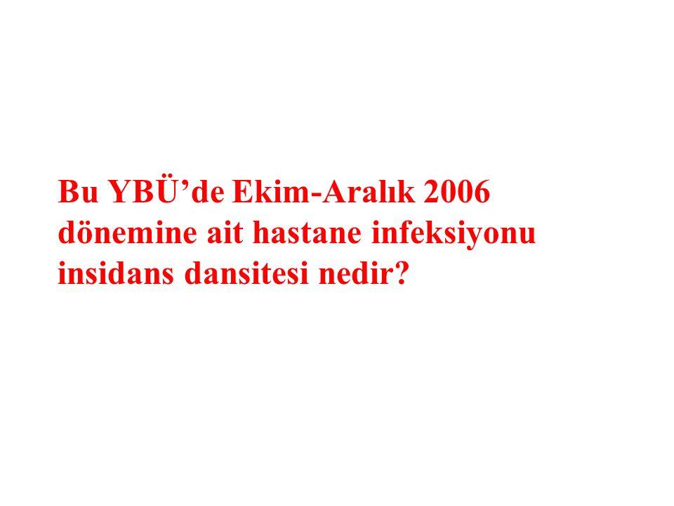 Bu YBÜ'de Ekim-Aralık 2006 dönemine ait hastane infeksiyonu insidans dansitesi nedir?