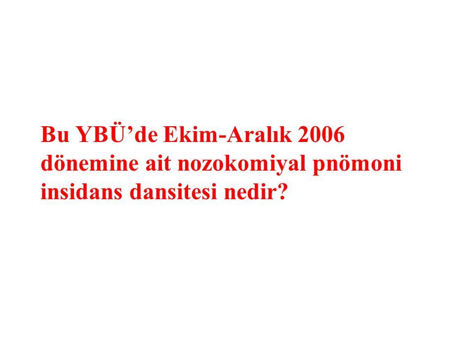 Bu YBÜ'de Ekim-Aralık 2006 dönemine ait nozokomiyal pnömoni insidans dansitesi nedir?
