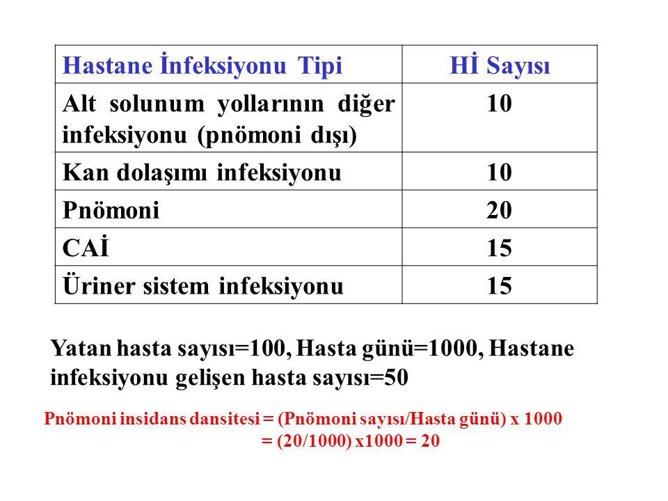 Hastane İnfeksiyonu TipiHİ Sayısı Alt solunum yollarının diğer infeksiyonu (pnömoni dışı) 10 Kan dolaşımı infeksiyonu10 Pnömoni20 CAİ15 Üriner sistem