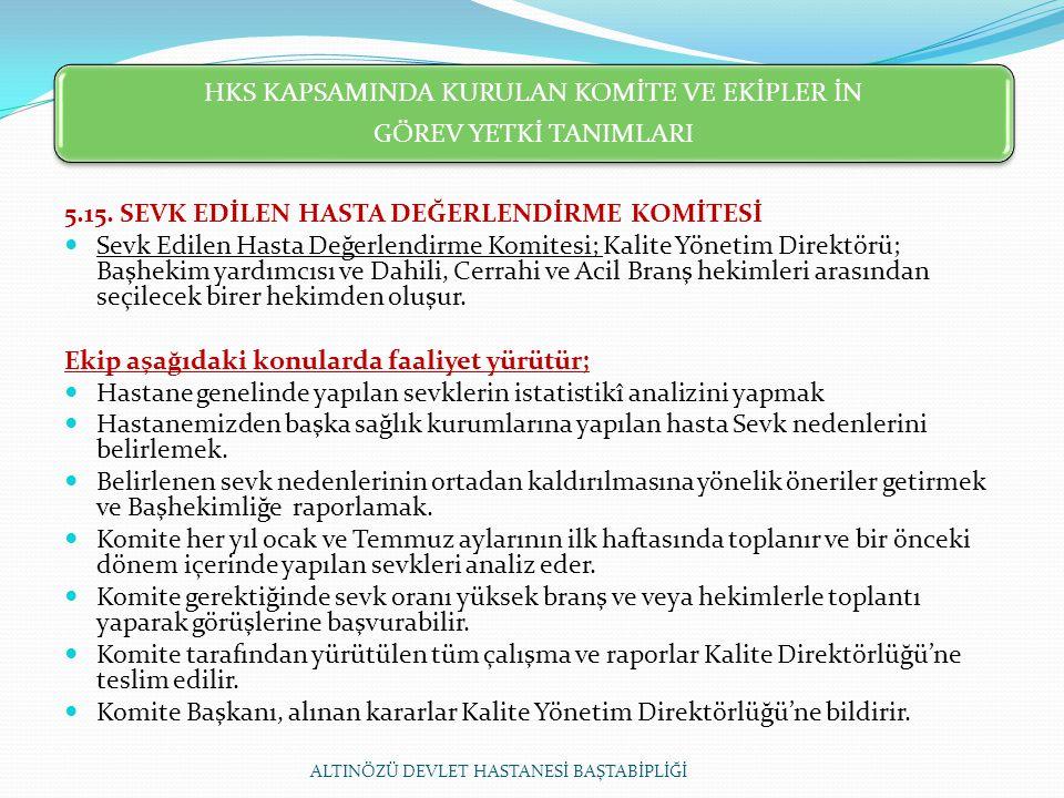 HKS KAPSAMINDA KURULAN KOMİTE VE EKİPLER İN GÖREV YETKİ TANIMLARI 5.15.