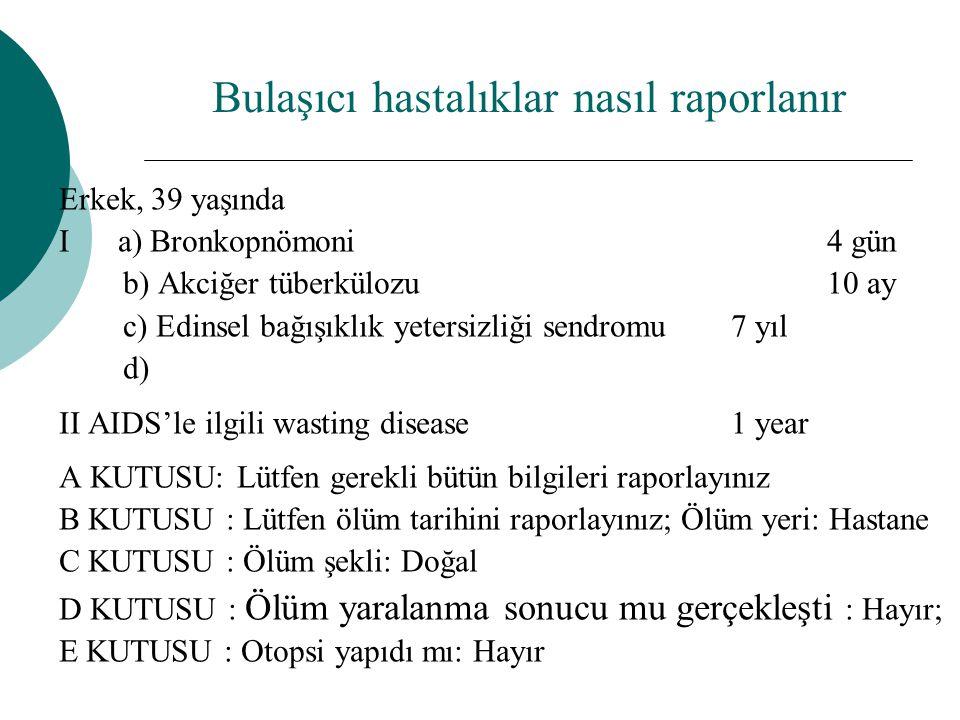 Erkek, 39 yaşında I a) Bronkopnömoni 4 gün b) Akciğer tüberkülozu 10 ay c) Edinsel bağışıklık yetersizliği sendromu 7 yıl d) II AIDS'le ilgili wasting
