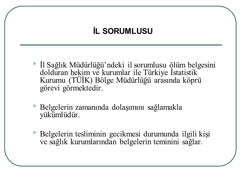 İl Sağlık Müdürlüğü'ndeki il sorumlusu ölüm belgesini dolduran hekim ve kurumlar ile Türkiye İstatistik Kurumu (TÜİK) Bölge Müdürlüğü arasında köprü g