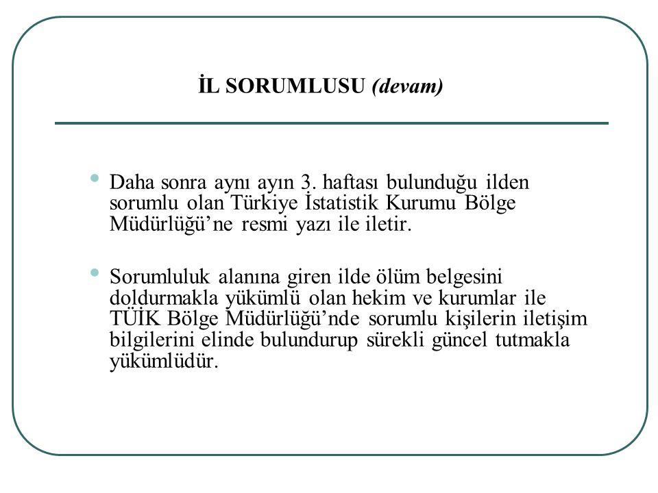 Daha sonra aynı ayın 3. haftası bulunduğu ilden sorumlu olan Türkiye İstatistik Kurumu Bölge Müdürlüğü'ne resmi yazı ile iletir. Sorumluluk alanına gi