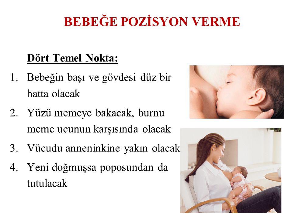 BEBEĞE POZİSYON VERME Dört Temel Nokta: 1.Bebeğin başı ve gövdesi düz bir hatta olacak 2.Yüzü memeye bakacak, burnu meme ucunun karşısında olacak 3.Vü