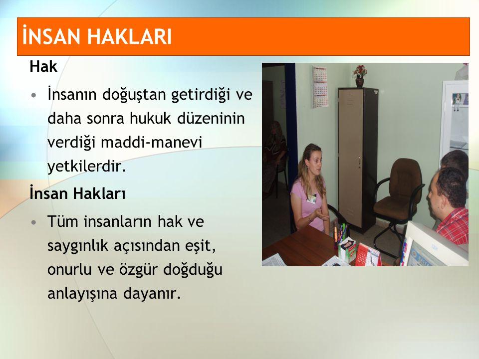 Kazanımlara göre insan haklarının sınıflandırılmış durumu www.saglik.gov.tr www.hastaninhaklari.com