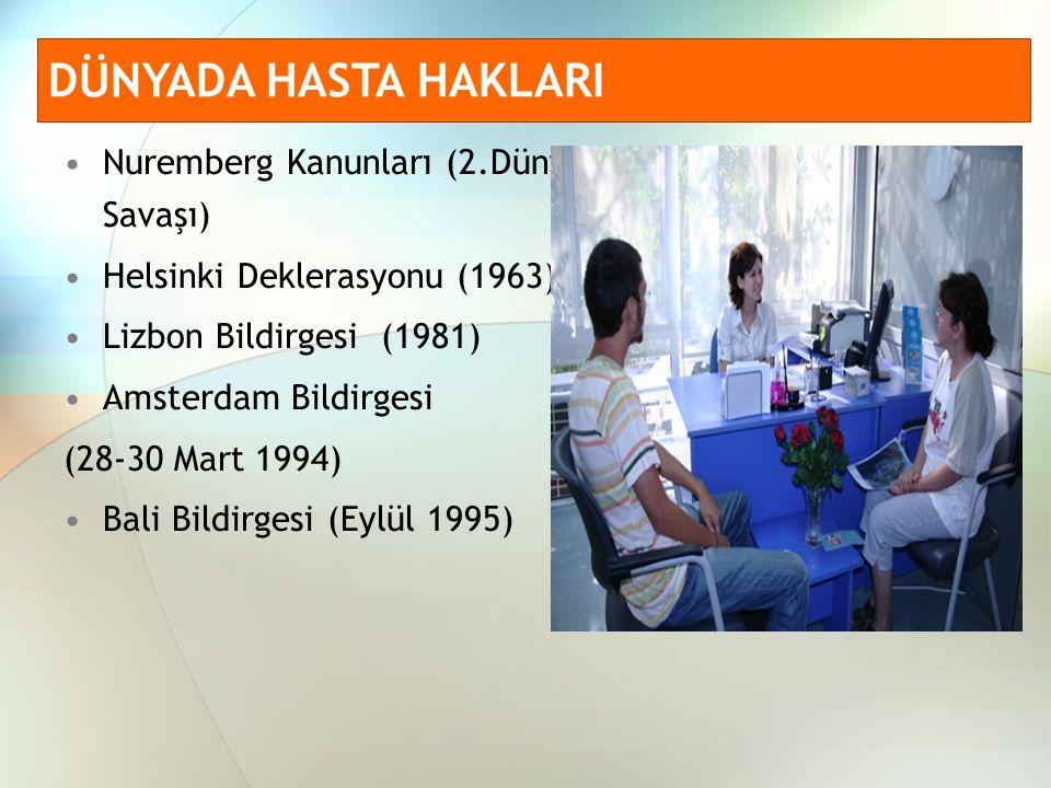 Çocuk Hastaların Hakları Bildirgesi (22-26 Ekim 1996) Varşova Toplantısı(7-8 Kasım 1996) İnsan Hakları ve Biyotıp Sözleşmesi (Kasım 1996) Hasta Haklarına İlişkin Avrupa Statüsü (Ana Sözleşmesi) (Kasım 2002) DÜNYADA HASTA HAKLARI