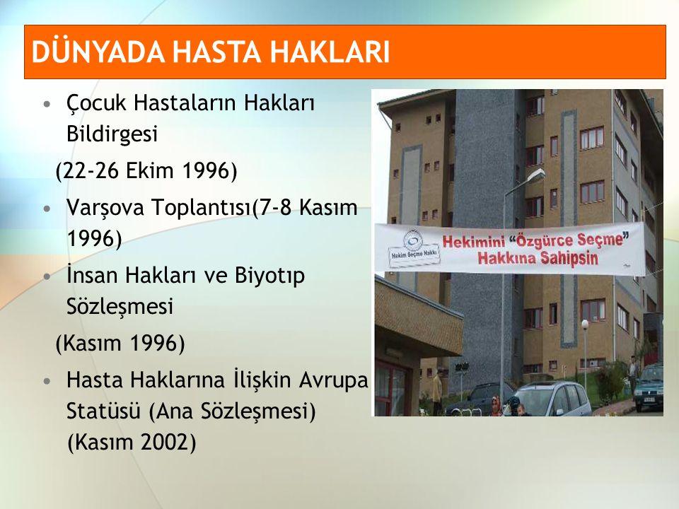 Anayasa (56.Madde) Tıbbi Deontoloji Tüzüğü (1960) Hasta Hakları Yönetmeliği(01.08.1998) Hasta Hakları Uygulama Yönergesi(26.04.2005) ile düzenlenmiştir.