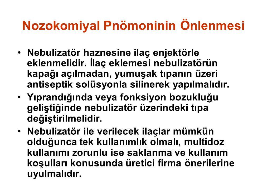 Nozokomiyal Pnömoninin Önlenmesi Nebulizatör haznesine ilaç enjektörle eklenmelidir.