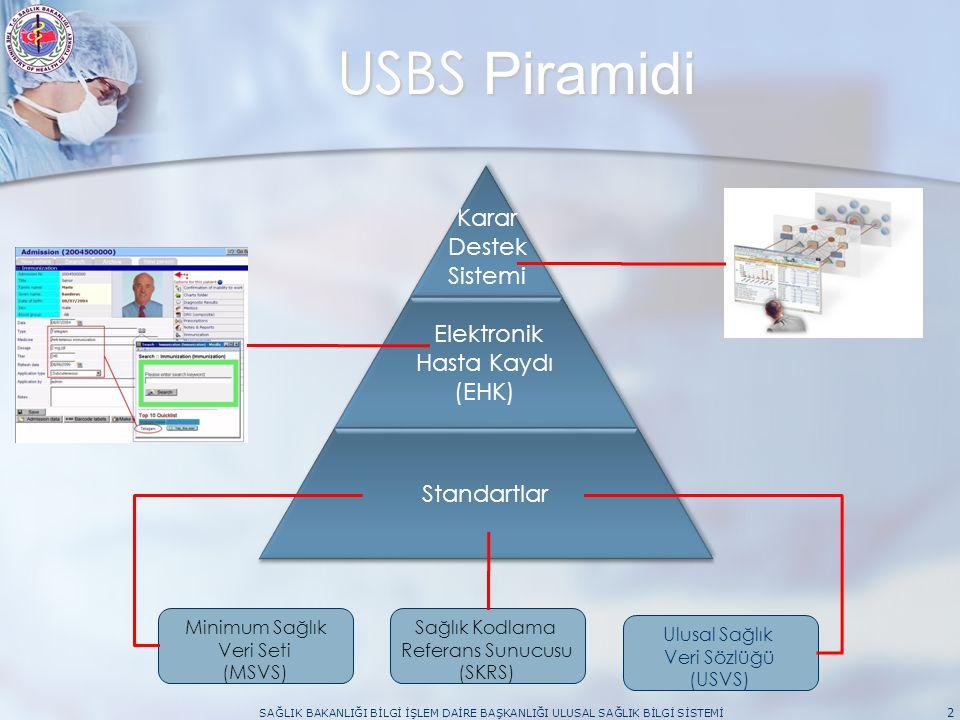 USBS Piramidi SAĞLIK BAKANLIĞI BİLGİ İŞLEM DAİRE BAŞKANLIĞI ULUSAL SAĞLIK BİLGİ SİSTEMİ 2 Minimum Sağlık Veri Seti (MSVS) Ulusal Sağlık Veri Sözlüğü (