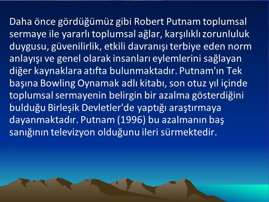 Daha önce gördüğümüz gibi Robert Putnam toplumsal sermaye ile yararlı toplumsal ağlar, karşılıklı zorunluluk duygusu, güvenilirlik, etkili davranışı t