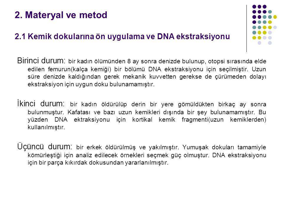 2. Materyal ve metod 2.1 Kemik dokularına ön uygulama ve DNA ekstraksiyonu Birinci durum: bir kadın ölümünden 8 ay sonra denizde bulunup, otopsi sıras