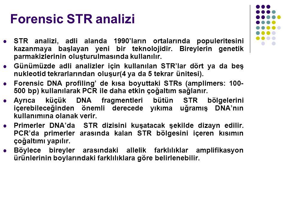Forensic STR analizi STR analizi, adli alanda 1990'ların ortalarında populeritesini kazanmaya başlayan yeni bir teknolojidir.